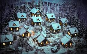 Картинка зима, снег, домики, фигуры, Merry Christmas
