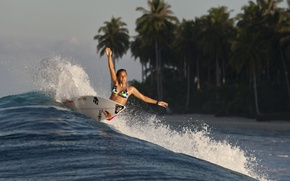 Картинка девушка, спорт, волна, серф, surfing