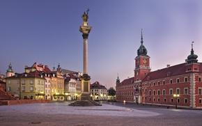 Картинка город, площадь, Польша, Варшава, Европа