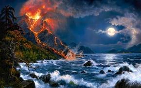 Картинка море, пейзаж, вулкан, арт, Jesse Barnes, извержение вулкана