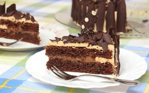 Картинка шоколад, торт, кусок