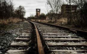 Картинка пейзаж, перспектива, железная дорога