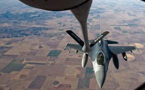 Картинка полет, пейзаж, горы, высота, Fighting, F-16, Falcon, эскадрилья, дозаправка в воздухе, Air Force Base, 120 …