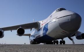 Обои Россия, вид спереди, аэродром, шасси, двигатели, Руслан, Авиакомпания Полет, имя - Борис Нагинский, Aн -124 ...