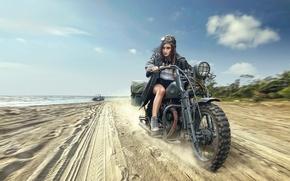 Картинка пляж, девушка, мотоцикл