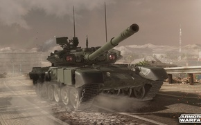 Картинка дорога, здания, танк, т-90, armored warfare