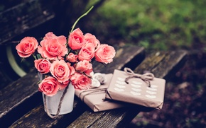 Обои розы, розовые, цветы, подарки