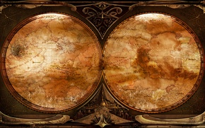 Картинка карта, стимпанк, разворот, steampunk, the map