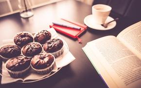 Картинка завтрак, кружка, чашка, книга, выпечка, кексы
