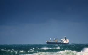 Картинка waves, storm, ship, tanker, troubled sea