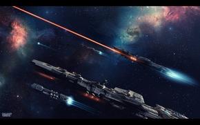 Картинка космос, луч, звёзды, лазер, полёт, космический корабль, First Strike