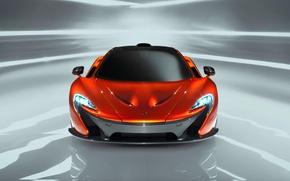 Картинка McLaren, Авто, Машина, Оранжевый, Капот, Фары, Передок, Спорткар
