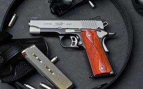 Картинка пистолет, оружие, патроны, кобура, 1911, custom shop, Kimber Manufacturing, American company