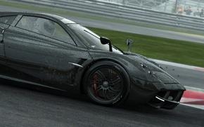 Картинка дождь, гонка, черный, автомобиль