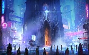 Обои улица, будущее, ночь, церковь, люди, робот, город