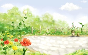 Обои цветы, забор, облака