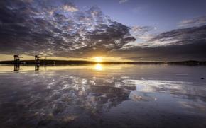 Картинка пляж, закат, отражение, Шотландия, симметрия, Соединенное Королевство, Эйршир, Fairlie