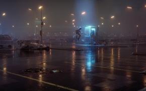 Обои космонавт, парковка, туман, ночь, фонари, Eimer, 52Hz, будка