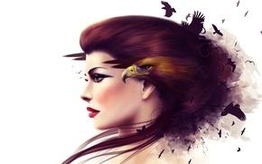 Картинка коллаж, девушка, клюв, птица, лицо, профиль, орел
