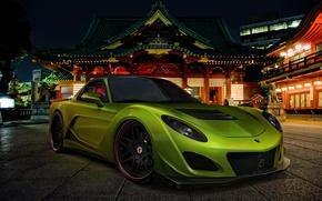 Картинка car, машина, авто, ночь, green, улица, Мазда, Japan, Mazda, night, зелёная, street, RX-7, avto, РХ-7