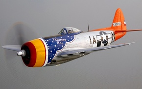 Картинка полет, ретро, самолет, пилот, пропеллер, Thunderbolt P-47