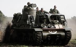Картинка войны, установка, самоходная, артиллерийская, (САУ), периода, класса, Priest, мировой, Второй, военная реконструкция, самоходных гаубиц