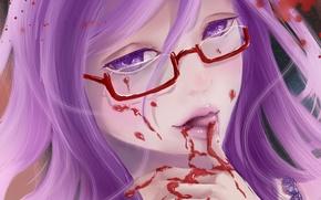 Картинка девушка, кровь, очки, Art, Токийский гуль, Kamishiro Rize, Tokyo ghoul