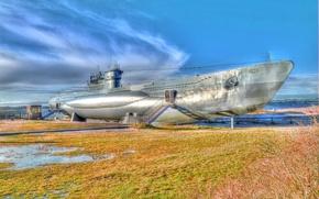 Картинка лодка, корабль, Германия, флот, подводная, пляже, немецкая, submarine, типа, установлена, средняя, U-995, HDR., музейный, лабе, …