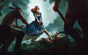 Картинка лес, девушка, платье, нож, art, аборигены, мушкет