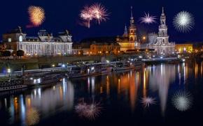 Картинка Новый год, праздник, Happy New Year, Эльба, салют, храм, собор, Katholische, ночь, дворец, 2015, церковь, …