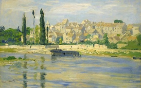 Картинка Клод Моне, картина, дома, пейзаж, река, город