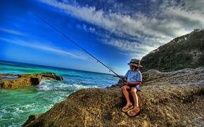 Обои море, удочка, рыбак, берег, рыбалка
