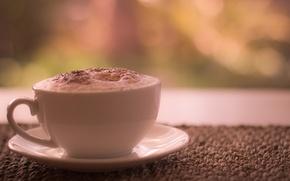 Обои кофе, чашка, корица, блюдце, пенка, латте, утренний, morning coffee