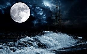 Картинка море, ночь, луна, волна, корабль, парусник