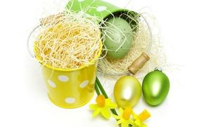 Картинка фото, Солома, Пасха, Яйца, Праздники, Нарциссы