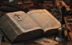 Картинка книга, колокольчик, страницы, Библия, фолиант
