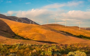 Картинка осень, небо, трава, деревья, горы, холмы, ветряная мельница