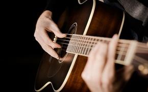 Обои акустика, руки, Guitar, chord, strings, acoustic, hands, струны, гитара