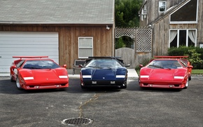 Обои красный, чёрный, Lamborghini, Trio