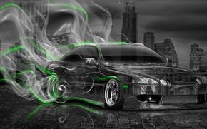Картинка Ночь, Город, Дым, Неон, Зеленый, Машина, Стиль, Обои, City, Дрифт, Toyota, Drift, Car, Арт, Photoshop, …