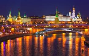 Картинка отражение, Russia, Moscow, Кремль, city, огни, Россия, ночь, Москва, Kremlin, река