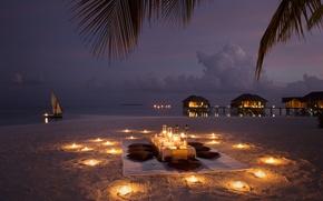 Обои лодка, свечи, романтика, пляж, бунгала, вечер, океан, ужин