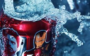 Картинка вода, брызги, банка, красная, Iron Man, жестяная