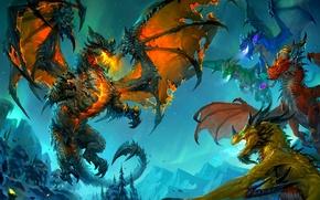 Картинка драконы, wow, cataclysm, смертокрыл, deathwing, аспекты драконов, world of wacraft