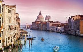 Картинка небо, вода, город, здания, канал, венеция, италия, italy, venice
