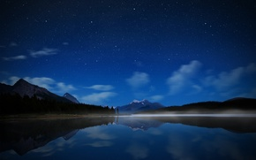 Картинка небо, вода, звезды, горы, ночь, озеро, Канада, парк Джаспер