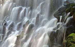 Картинка брызги, камни, мох, Орегон, потоки, Водопад Рамона