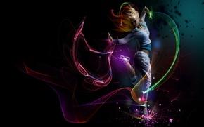 Картинка линии, Девушка, танец