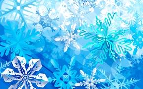 Картинка зима, праздник, узор, краски, снежинка