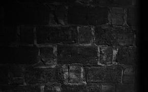 Обои чёрный, макро, кирпичи, ночь, стена